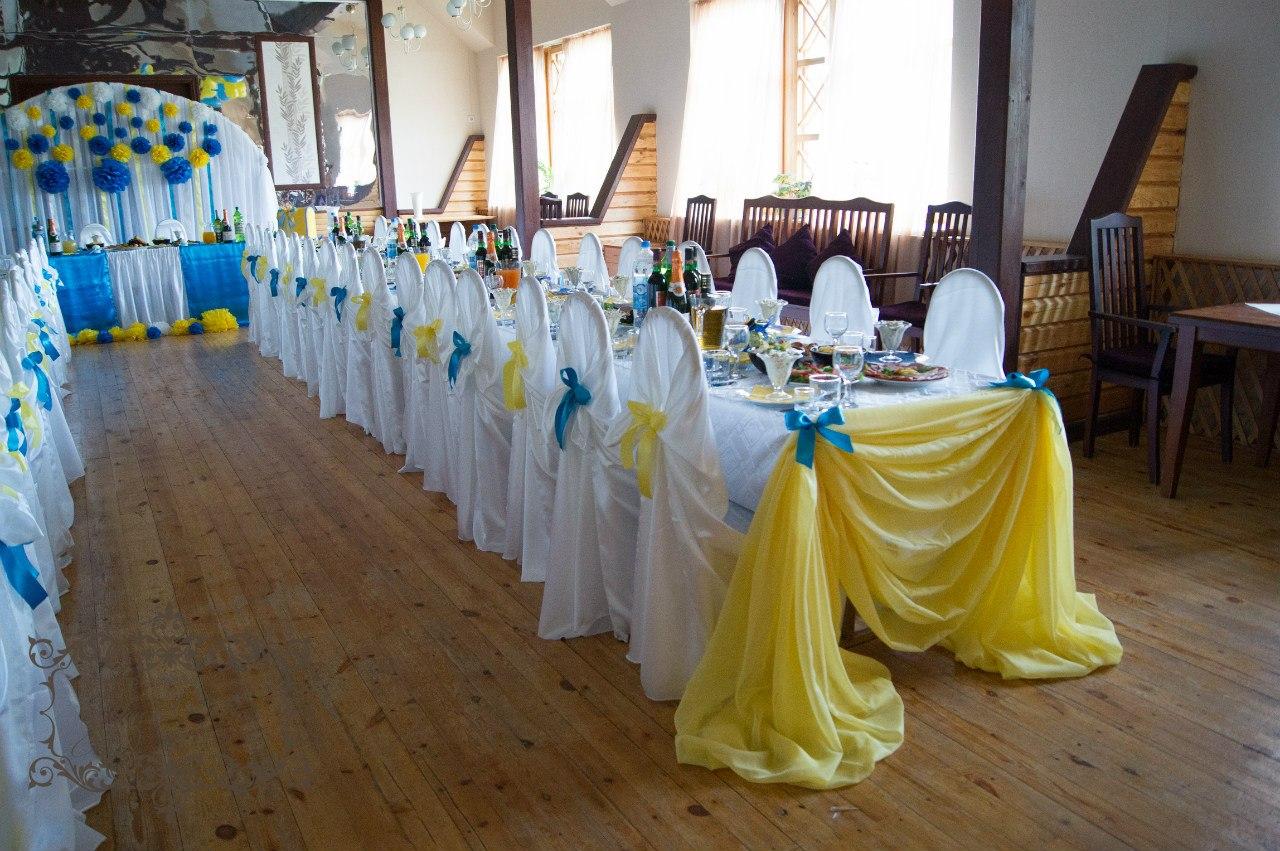 Украшение свадебного зала фото сине белое